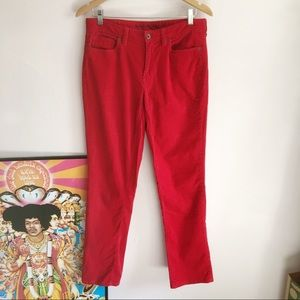 Red Corduroys Mid Rise flare leg